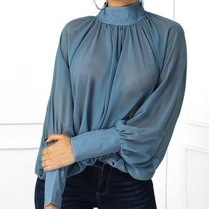 Tops - Plain Batwing Sleeve Long Sleeve Chiffon Women's
